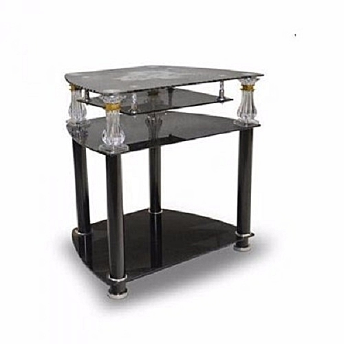 TV And Home Theatre Tempered Glass Stand - Black