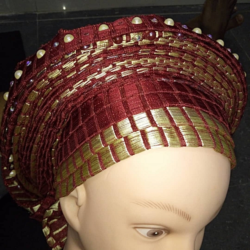 Burgundy Autogele Embellished With Pearls And Stone