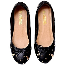 096d91cd3f73 Female Flats With Gold Studded Bow Detail - Black