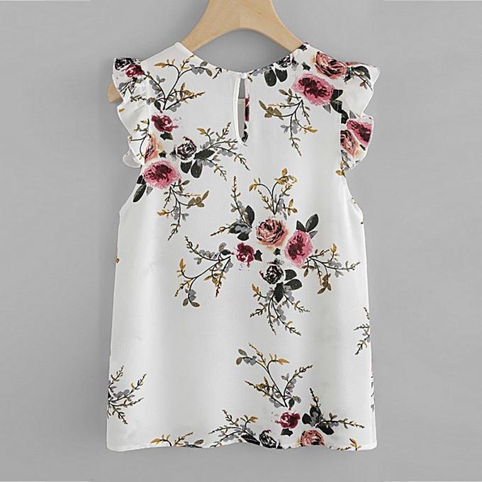 5a7dcaa0832e Fashion Women Floral Print Butterfly Sleeve Blouse Crop Tops Vest Tank  Chiffon T Shirt | Jumia NG