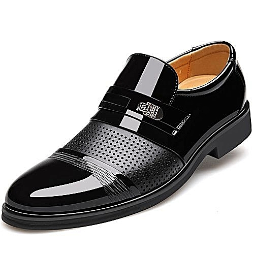 Large Size Leather Shoes Big Size Hollow Out Man Africa Gentle Wedding Leather Shoes Luxury Brand 39-48 -black