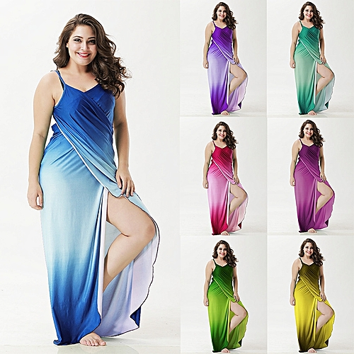 Sexy Women Gradient Long Beach Skirt Cover Up Outdoor Sunscreen Sling Dress Sarong Towel 4XL