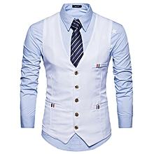 d8821bca60f Men Casual Slim Fit Single Breasted Tuxedo Vests Waistcoats Men Chalecos  Para Hombre-WHITE