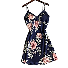 c6025171f9b Women Silk Satin Night Gown Sleeveless Nightdress Floral Printed Sleepwear  Blue L