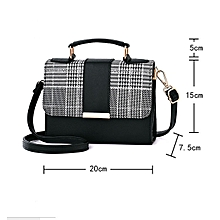 Portable Plaid Leather Handbag - Black c043dd3800a66