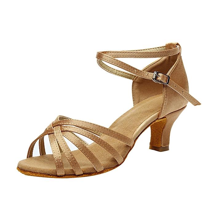 Women s Color Fashion Rumba Waltz Prom Ballroom Latin Salsa Dance Shoes  Sandals -Khaki f0ed78658c52