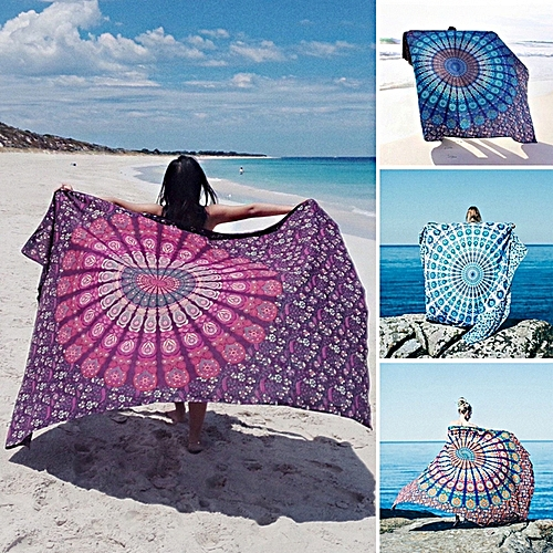 Honana WX-17 150x210cm Bohemian Style Polyester Fiber Beach Towel Shawl Mandala Rectangle Bed Sheet Tapestry 150*210