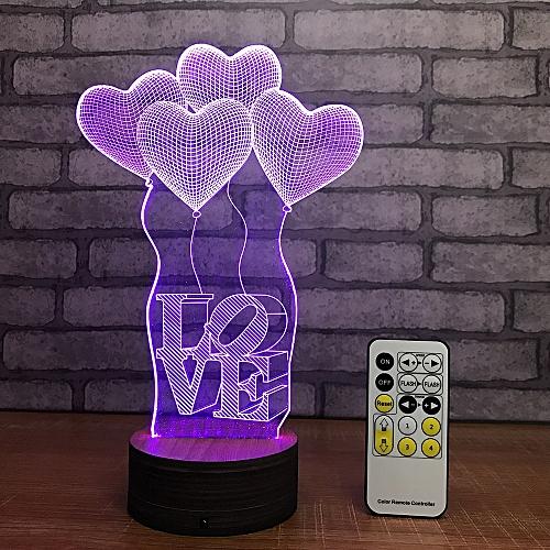 Creative Love Shape 3D LED Lamp Night Light Multicolor RGB Bulb Decor Gift Toys