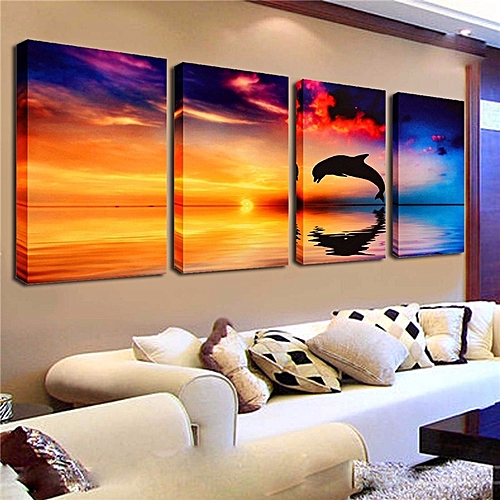 Dolphin SunsetSea Canvas Art Oil Print Home Wall Painting Decor Unframed Picture-Multi
