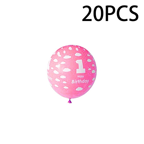 Allwin 20Pcs 1 Year Old Baby Number Printing Birthday Balloons For Party Decoration Pink
