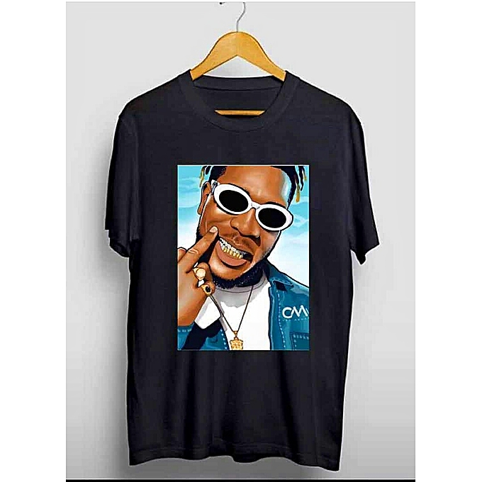 Burna Boy Blue Background Design Black Printed T-shirt
