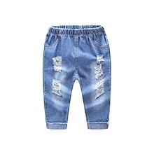 1be0277d0c9 Children Kid Infant Boys Girls Hole Jeans Denim Casual Long Pants Clothes