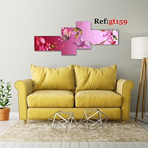 Large Pink Flower 4 Piece HD Canvas Wall Art
