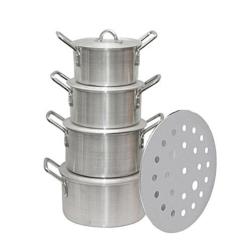 Aluminium Stock Pot With Steamer - 5 Pieces
