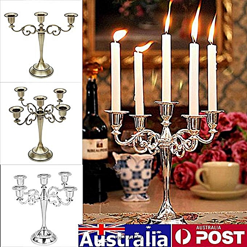 3 Arm Bronze Wedding Romantic Metal Crafts Candelabra Alloy Candle Holder Stand Decor