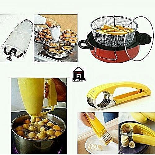 Deep Fryer, PuffPuff & Doughnut Dispenser And Plantain Cutter