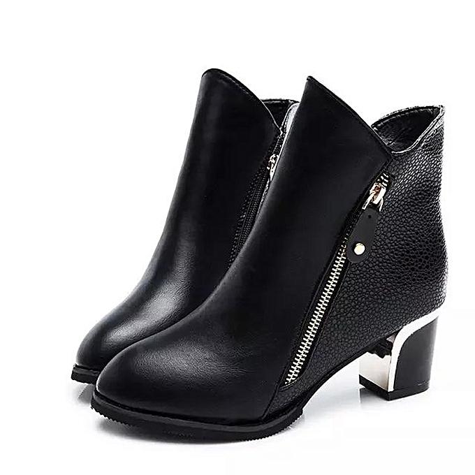 e4ba3d6ccbbc Women High Heels Booties Ankle Boots Zipper Fashion Low Shoes Wedge Shoes  BK 35-