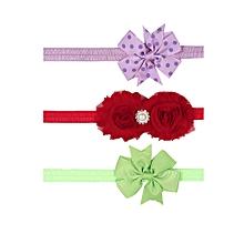 41b5078da50 3 Pcs Lovely Handmade Ribbon Cotton Chiffon Print Bow Knot Tie Toddler Baby  Hair Band With