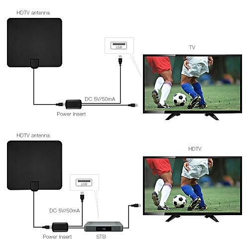 Digital HDTV Antenna TV Signal Reception Amplifier-Black
