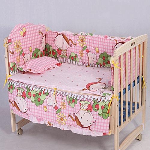 100*58cm 5pcs/Set Promotion Cotton Baby Children Bedding Set -pink