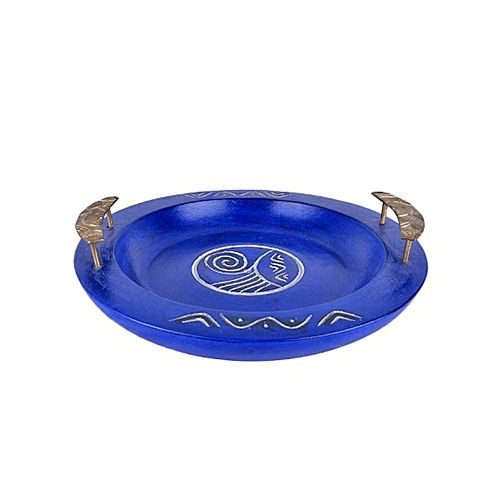 Home Decor Serving Plate With Brass Handle - Blue