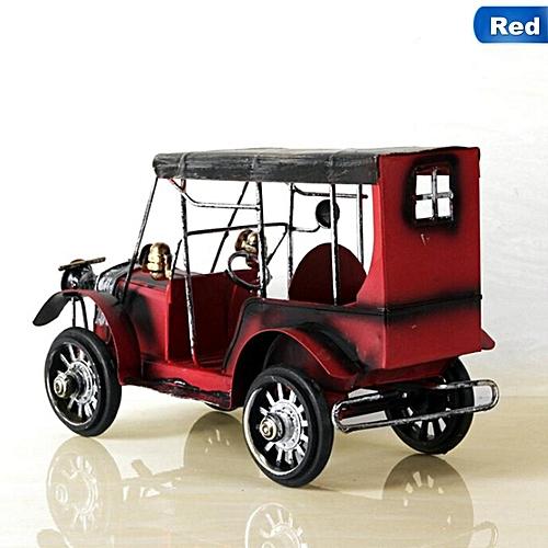 1pc Retro Nostalgia Iron Crafts Metal Antique Car Model Desktop Car Toys Accessory
