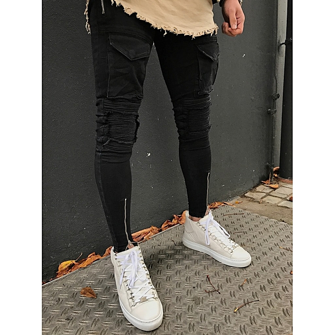 6eb63f572b6 2018 2018 Korean New Designer Black Skinny Jeans Men Denim Pants Slim Rock  Punk Jeans With Chain From Amazingweilai