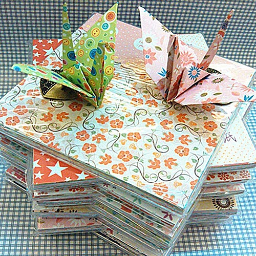 68 Sheets Eleganya Sweet Floral Printing Simple Square DIY Generic Origami