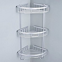 2pcs Aluminium Hanging Bathroom Shower Accessories Corner Storage Shelf Rack Holder 3 Tier