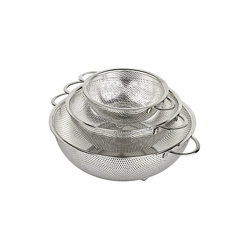 Stainless Steel Colander And Food Strainer Set Of 3 - Silver