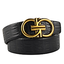 256878490ea1 Men  039 s Belts Melon Seeds Grain Leather Belt With Automatic Buckle-black