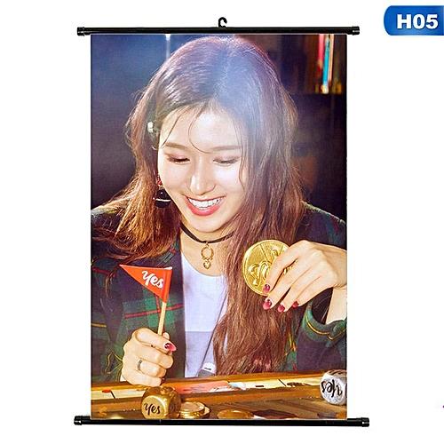 Eleganya Kpop TWICE New Album YES Or YES Fashion Photo Hanging Scroll Painting