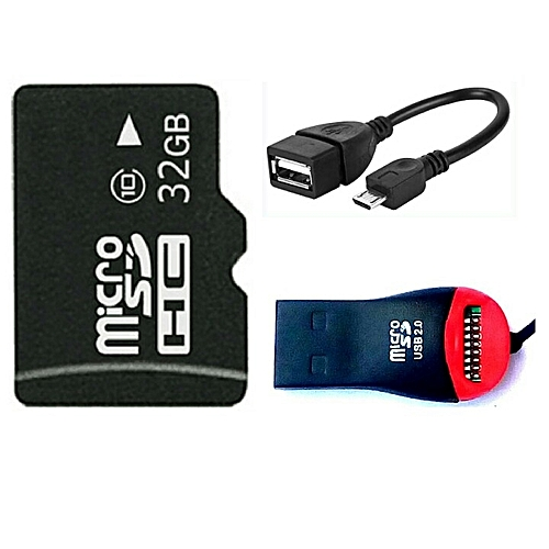 32GB Memory Card + Micro SD Card Reader + OTG Cable