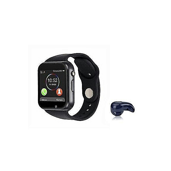 A1 Smart Watch With SIM, SD Card Space For Android & IOS + Free S530  Bluetooth Earpiece