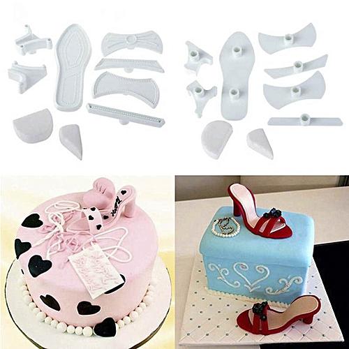 9pcs Plastic DIY Lady High-Heeled Shoes Fondant Cake Sugarcraft Baking Cutter Mould Mold