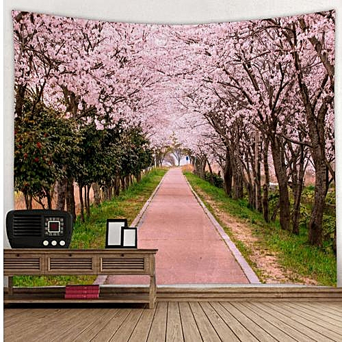 Pink Wood Avenue Flower Type Sanding Tapestry - Multi-A