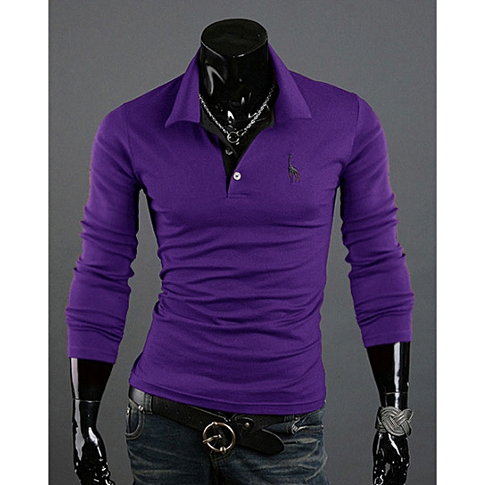 1f2fc9f0 Mens Polo Homme Casual Tops Tee V Neck Polo Shirts Slim Fit Long Sleeve Polo -