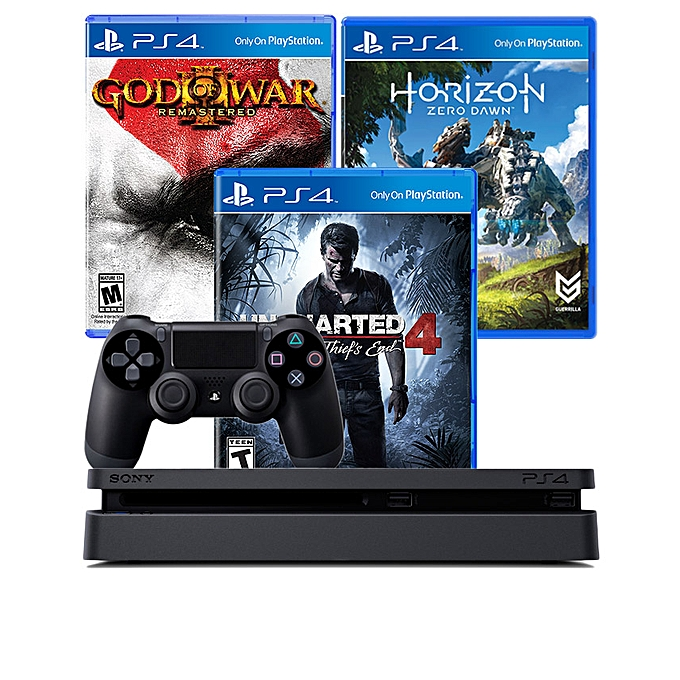 PlayStation 4 Slim 500GB Console + 3 months PS Plus Subscription + God of War, Uncharted 4 & Zero Dawn