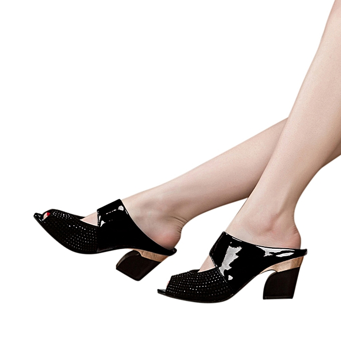 c759d43738dc Bliccol High Heel Shoes Ladies Women Sandals Mixed Colors Square High Heels  Slipper Fish Mouth Shoes