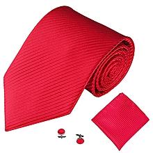 c11eb9468eef Fohting 3PCS Classic Men Party Tie Necktie Pocket Square Handkerchief Cuff  Link M -Red