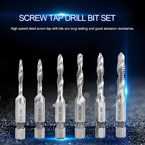 6pcs High Speed Steel 1/4in Hex Shank Combination Screw Tap Drill Bit Set Hardware Tool