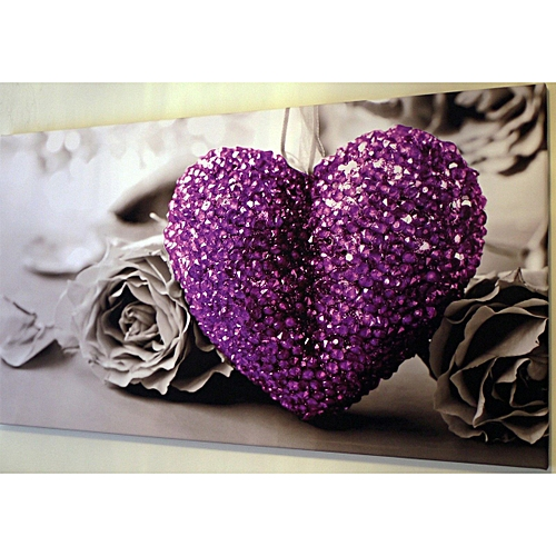 """PURPLE HEART ON BLACK AND WHITE CANVAS WALL ART PICTURE LARGE 18"""" X 32"""" INCH-Purple"""