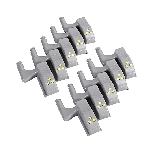 10Pcs Universal Cabinet Cupboard Closet Wardrobe LED Hinge Light Home Kitchen Night Lights (Warm White)