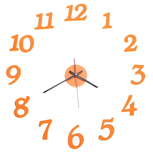 3D DIY Clock Adhesive Decal Modern Wall Room Interior Number Orange