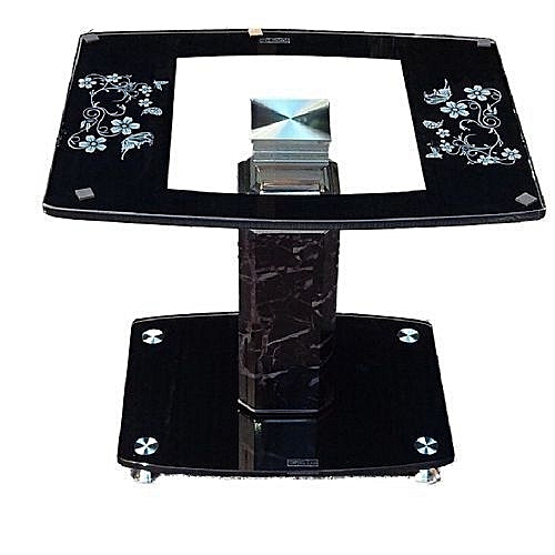 Tempered Glass Side Stool Coffee Table