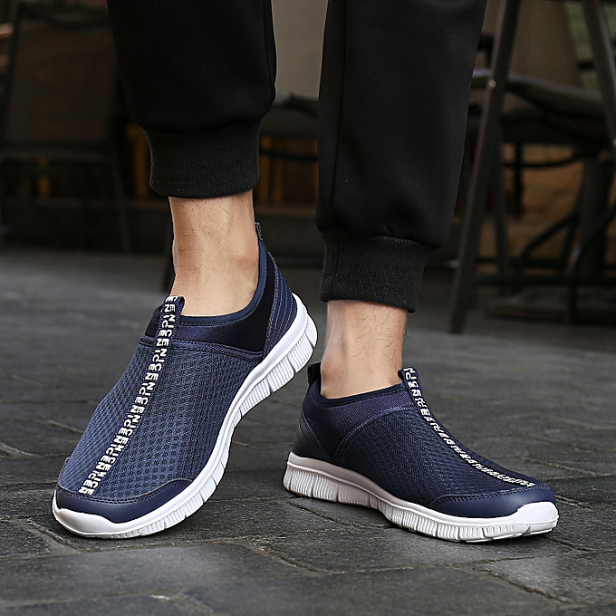 b94fbd7bffb Mens Breathable Casual Shoes Slip On Sneakers Lightweight Running Shoes Gym  Walking Loafers Deep Blue