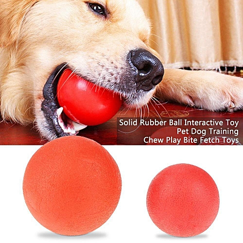 Solid Rubber Ball Interactive Toy Pet Dog Training Chew Play Bite Fetch Toys S