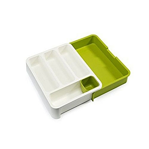Expandable Cutlery Tray - Green