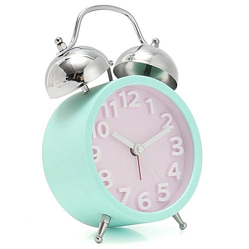 Alarm Clock Mute Double Bells With Night Light Simple Style Purple Green Yellow