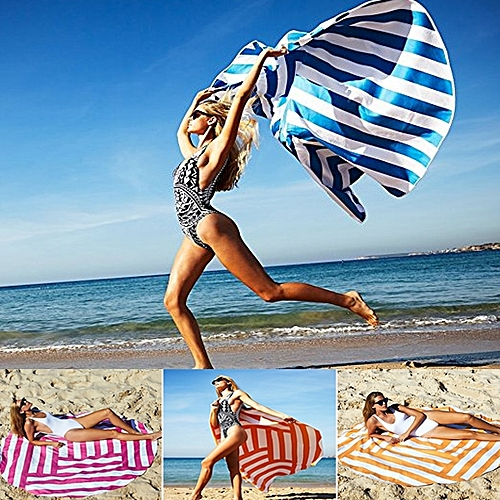 150cm Bohemian Style Thincolor Stripe Beach Towel Mandala Round Silk Scarf Bed Sheet Tapestry
